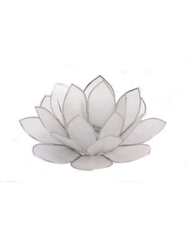 """""""Waxinehouder lotus wit met zilveren randjes"""""""